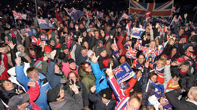 Falkland Islanders celebrate voting in favour of remaining British