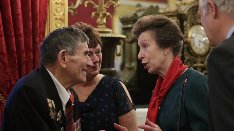 Princess Anne chatting to D-Day veteran Abraham Young at St James's Palace
