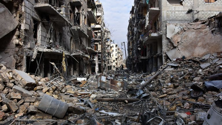 Destruction in the al-Shaar neighbourhood of Aleppo