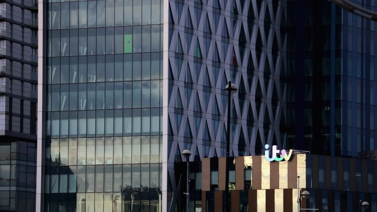 ITV's logo on Media City buildings in Salford Quays
