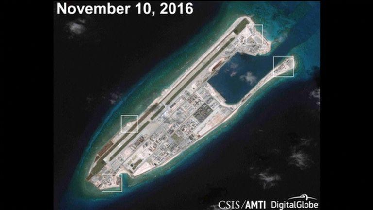 AMTI image apparently showing anti-aircraft guns on Fiery Cross Reef in the South China Sea