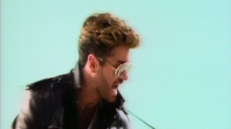 George Michael performs in his Faith music video