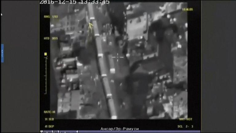 Russian planes monitor the convoy preparing to leave Aleppo