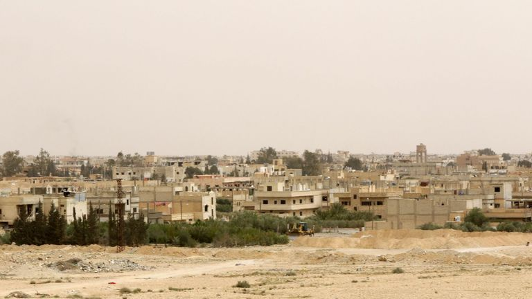 A general view shows the modern town of Palmyra, adjacent to the ancient Syrian city, on April 9, 2016, as civilians return to their homes. Syrian troops backed by Russian forces recaptured Palmyra on March 27, 2016, after a fierce offensive to rescue the city from jihadists who view the UNESCO-listed site's magnificent ruins as idolatrous. / AFP / LOUAI BESHARA (Photo credit should read LOUAI BESHARA/AFP/Getty Images)