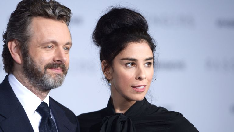 Michael Sheen with girlfriend Sarah Silverman at the premier of Passengers in California