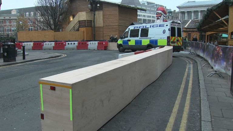 Barriers and a police van at a Christmas market in Birmingham