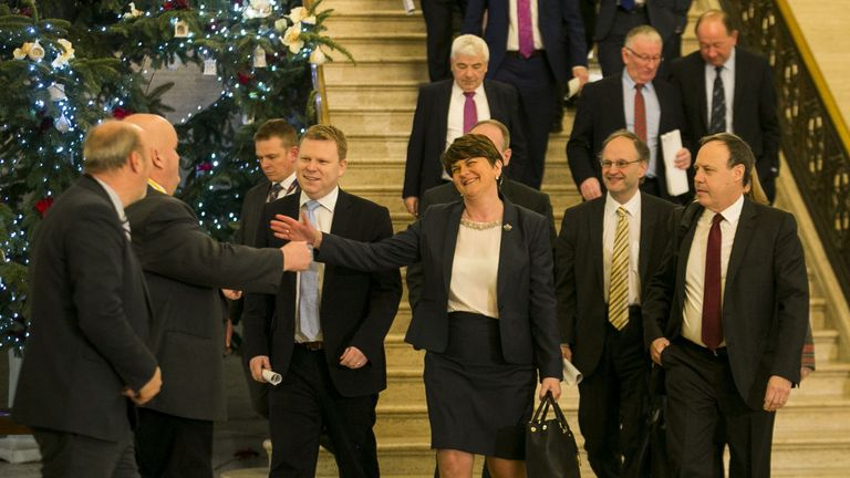 First Minister Arlene Foster arrives at the Parliament Buildings in Stormont