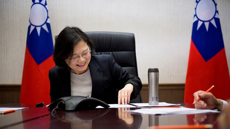 Taiwan's President on the phone with Mr Trump at her office in Taipei