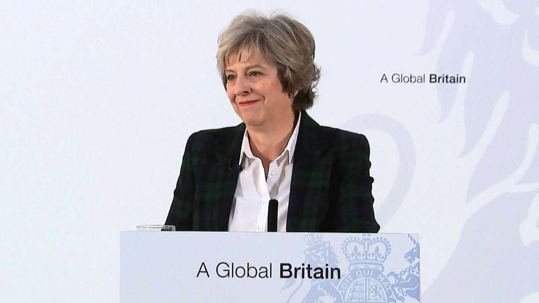 Theresa May outlines her plan for Brexit to lead to a Global Britain