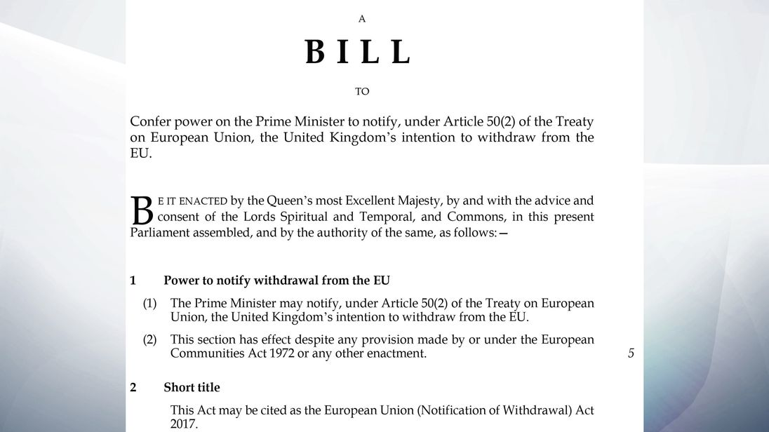The Article 50 legislation which paves the way for Theresa May to start the Brexit process