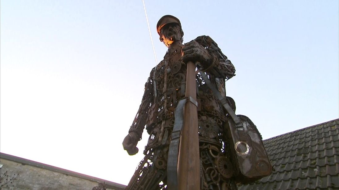 Tribute to a WW1 soldier made out of scrap metal