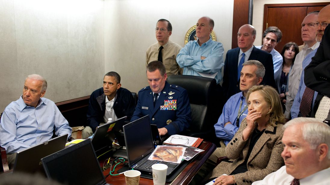 President Barack Obama watches the mission against Osama bin Laden unfold