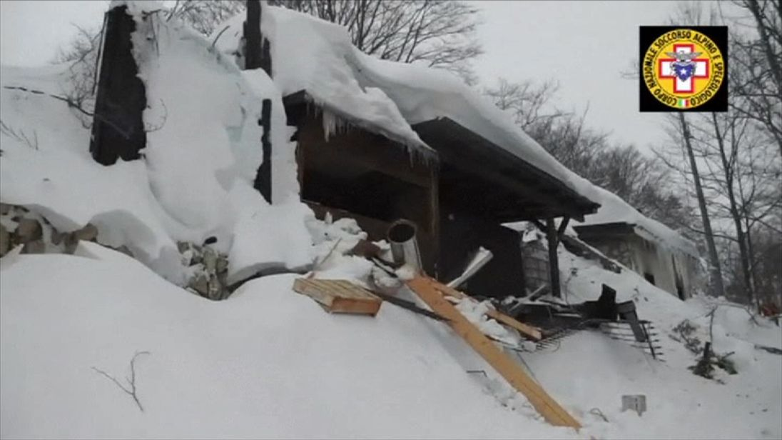 Rescue teams film inside the hotel hit by an avalanche