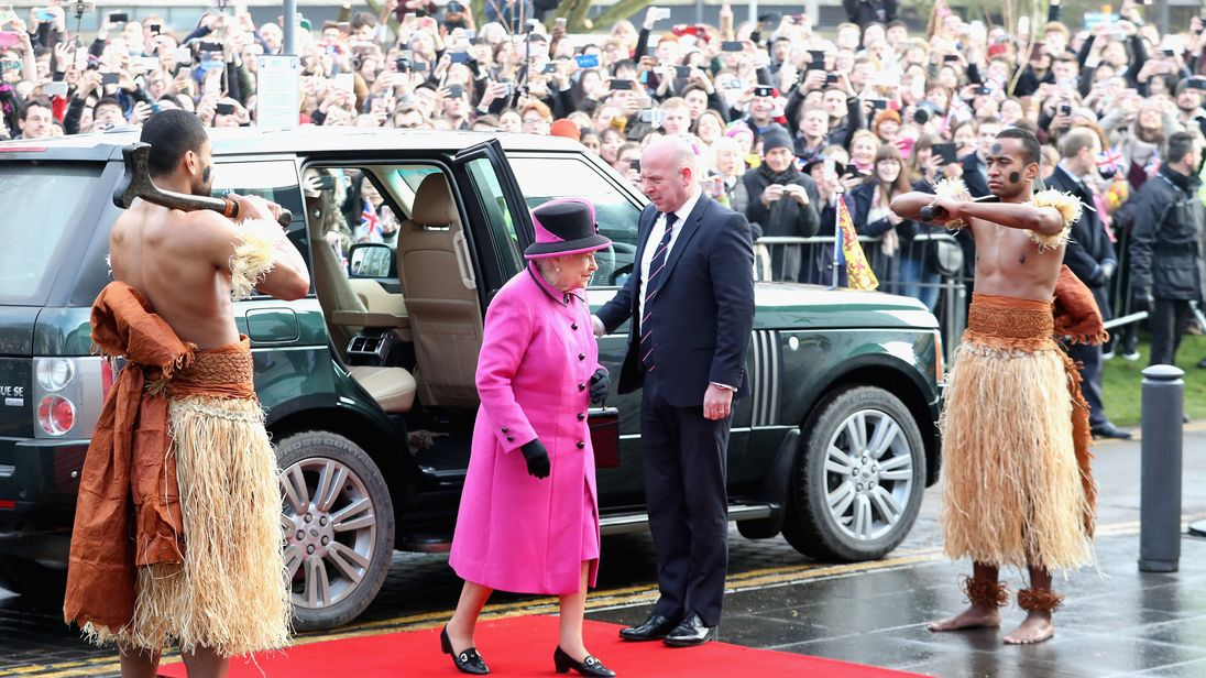 The Queen is on her first official engagement of the year. She's visiting the University of East Anglia in Norwich to see