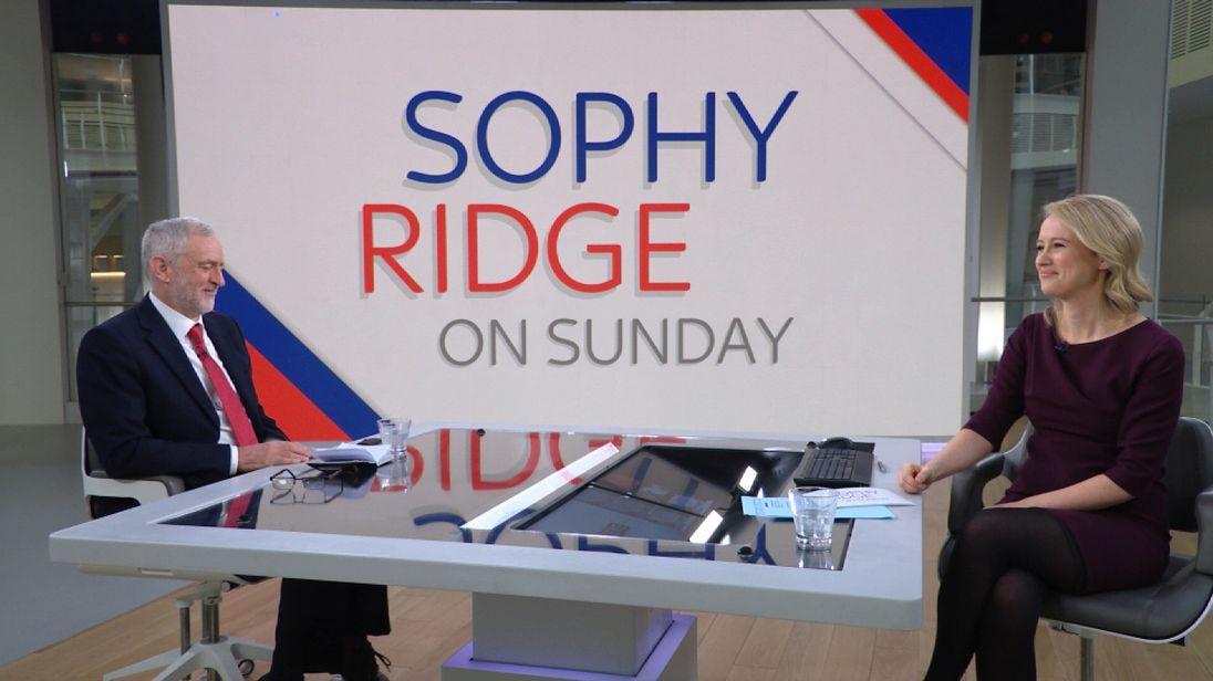 Jeremy Corbyn talks to Sky's Sophy Ridge