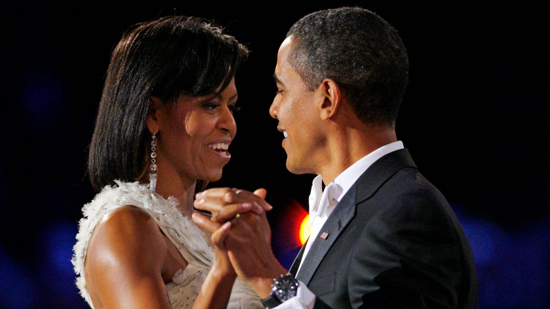 Michelle Obama and Barack Obama share their first dance after his inauguration in 2009