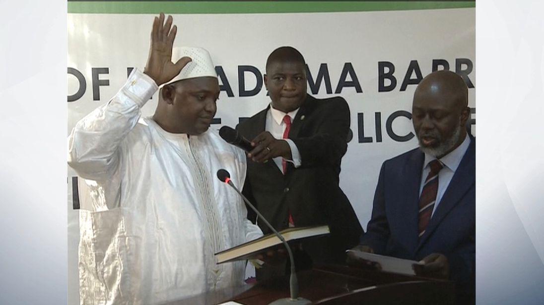 Adama Barrow is sworn in as President of The Gambia in Senegal