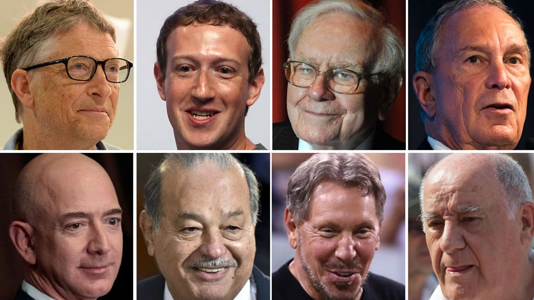From top L-R: Bill Gates,  Mark Zuckerberg, Warren Buffett, Michael Bloomberg. Bottom L-R: Jeff Bezos, Carlos Slim, Larry Ellison, 