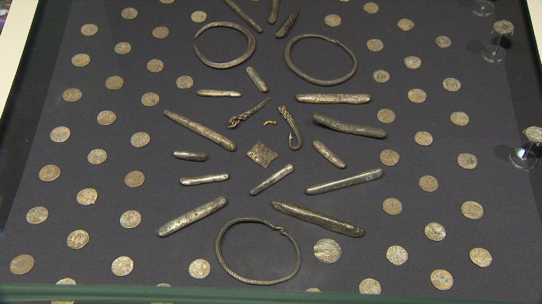 Part of the hoard of Anglo Saxon coins in a field near Watlington in Oxfordshire.
