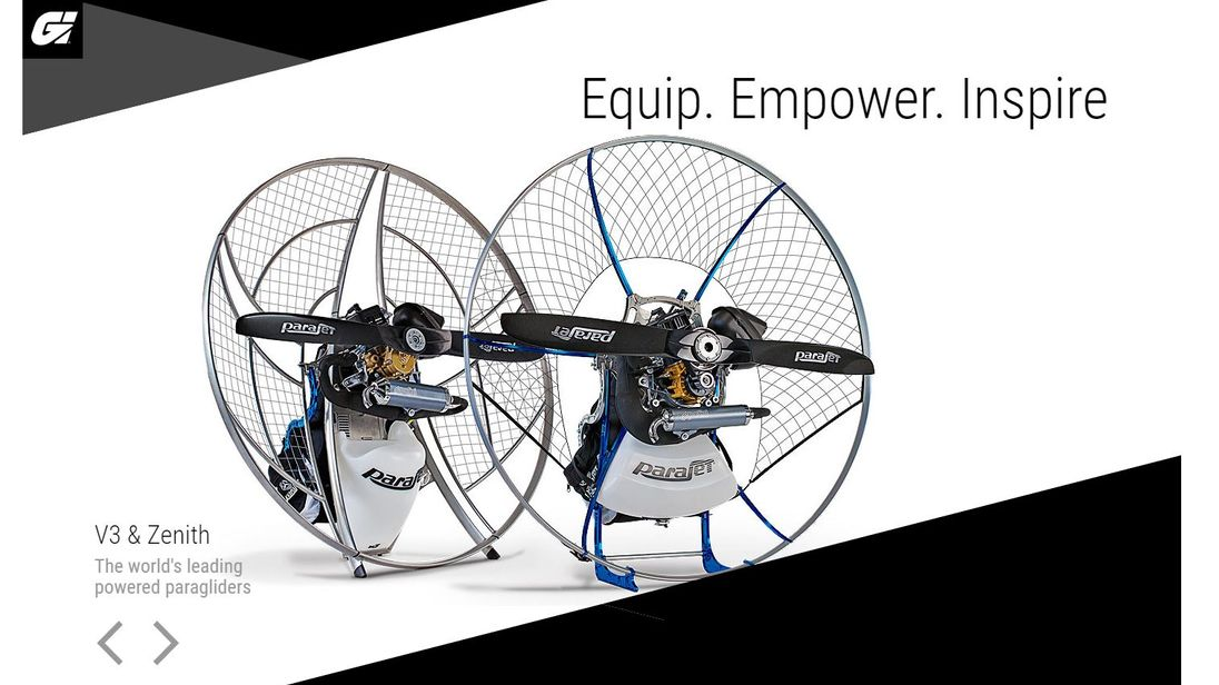 Powered paragliders are among the products showcased on the Gilo Industries Group website