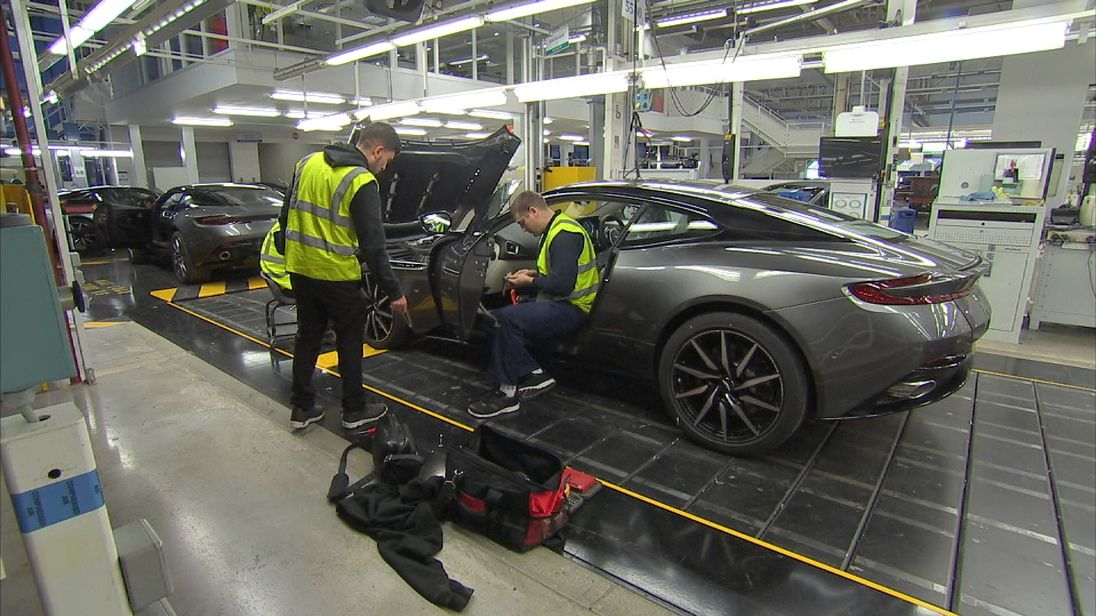 Aston Martin's production line at Gaydon