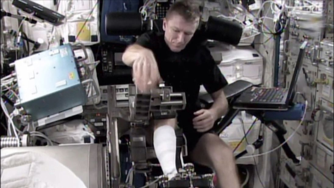 British astronaut Tim Peake working on the ISS