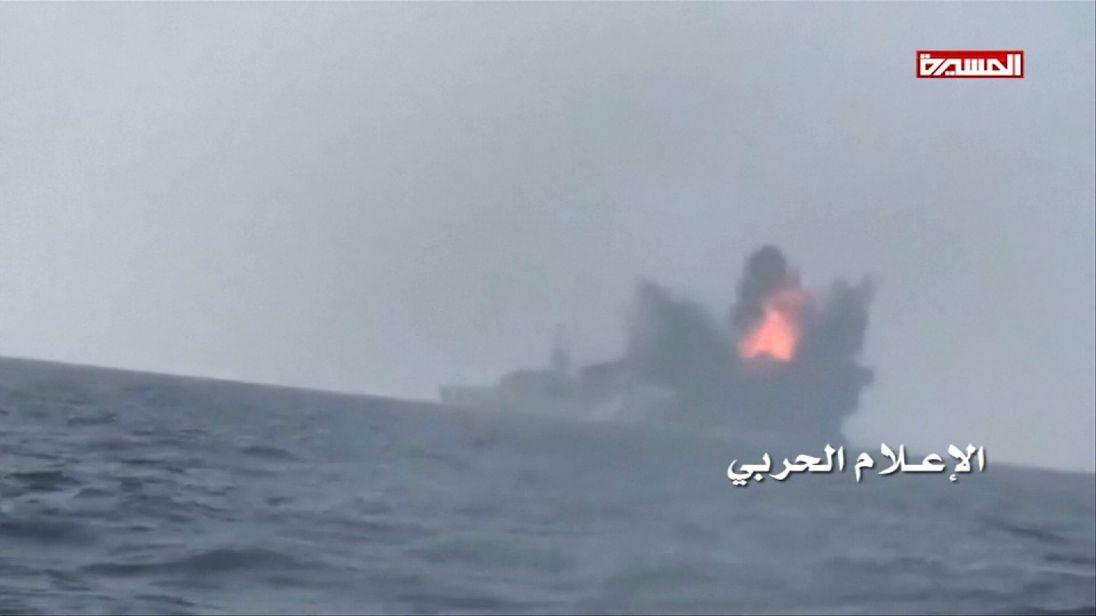 A Houthi 'suicide boat' rams a Saudi warship of the Yemeni coast