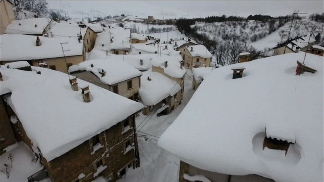 Pescocostanzo in Italy lies blanketed in snow