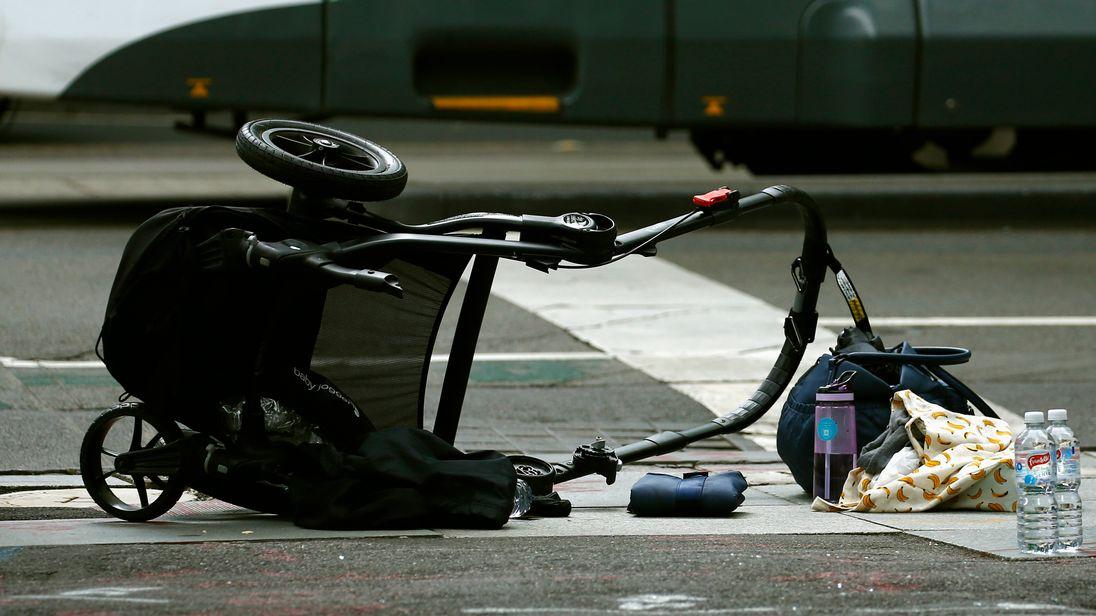 A pushchair left abandoned after a car ploughed through pedestrians