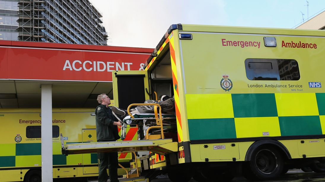 A patient is taken from an ambulance outside the Accident and Emergency ward at St Thomas' Hospital on January 6, 2015 in London, United Kingdom