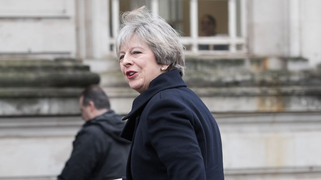 Prime Minister Theresa May arrives at Cardiff City Hall for a joint ministerial committee (JMC)