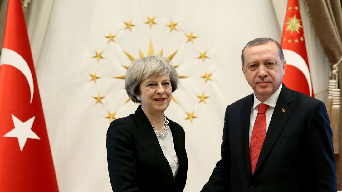 Theresa May and Recep Tayyip Erdogan meet for trade talks