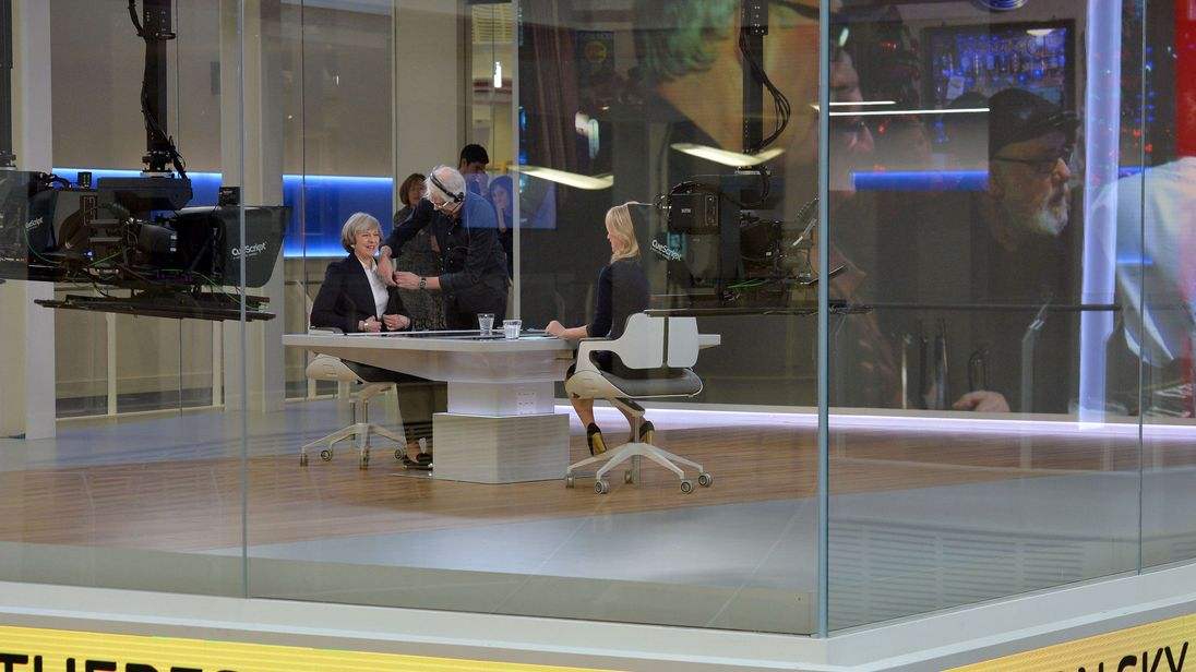 The Prime Minister being interviewed by Sophy Ridge