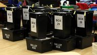 Ballot boxes wait to be opened at an English election. File pic