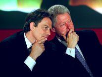 U.S President Bill Clinton and British Prime Minister Tony Blair in Paris, 1997