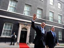 Gordon Brown and Barack Obama leave 10 Downing Street, 2009