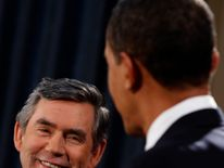 Gordon Brown during a joint news conference with Barack Obama at the Foreign and Commonwealth Office in London, 2009