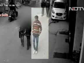 Police say Sunil Rastogi always wore the same striped top when preying on girls. Pic: NDTV