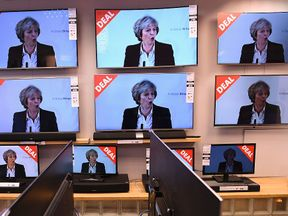 TVs on display for sale in a shop in Liverpool during the PM's Brexit speech