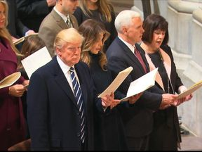 President Trump and Vice President Pence attend church