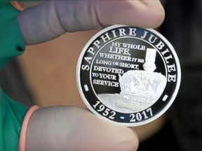 The Royal Mint is to mark the 65th anniversary of the Queen's accession to the throne with a range of specially designed Sapphire Jubilee commemorative coins. Pic grab from b-roll video given to Sky News