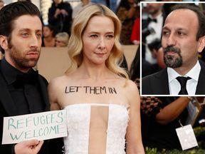 Simon Helberg and wife Jocelyn Towne, and Asghar Farhadi