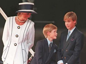 Prince Harry and brother William with their mother in London, 1995