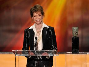 Actress Mary Tyler Moore accepts the Life Achievement Award onstage during the 18th Annual Screen Actors Guild Awards at The Shrine Auditorium on January 29, 2012 in Los Angeles, California
