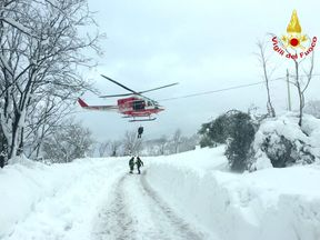 Handout photo issued by Virgili del Fuoco after an avalanche buried the Hotel Rigopiano in Abruzzo