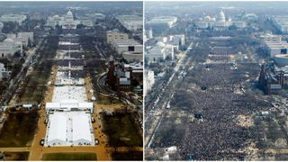 National Mall on January 20, 2017 and January 20, 2009, in Washington