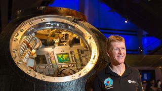 British astronaut Tim Peake with the Russian Soyuz capsule