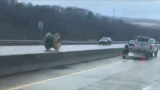 Giant wire spool rolls on and on down Pennsylvania highway