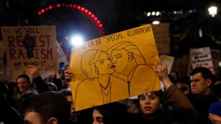 Thousands gathered at protests in central London