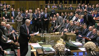 Jeremy Corbyn asks a question to the PM in the Commons